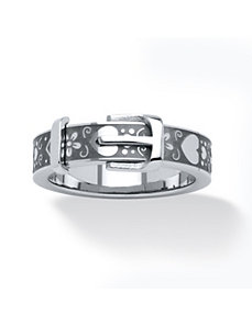 Stainless Steel Hearts Buckle Ring by PalmBeach Jewelry