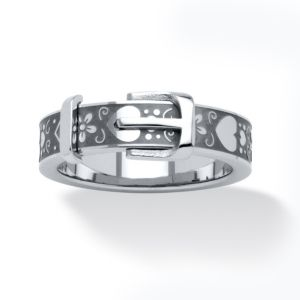Stainless Steel Hearts Buckle Ring