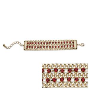 Red Crystal Curb Link Bracelet
