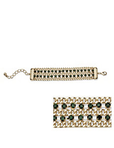 Green Crystal Curb Link Bracelet by PalmBeach Jewelry