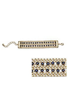Blue Crystal Curb Link Bracelet by PalmBeach Jewelry