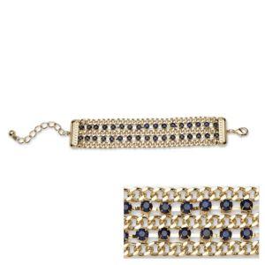 Blue Crystal Curb Link Bracelet