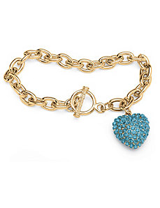 Birthstone Crystal Heart Bracelet by PalmBeach Jewelry