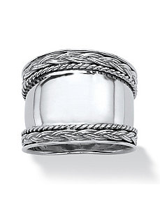 Sterling Cigar Band Style Ring by PalmBeach Jewelry