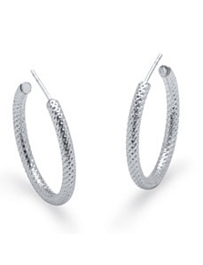 Sterling Diamond Cut Hoop Earrings by PalmBeach Jewelry