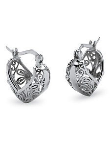 Sterling Filigree Hoop Earrings by PalmBeach Jewelry