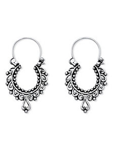 Sterling Openwork Scroll Earrings by PalmBeach Jewelry