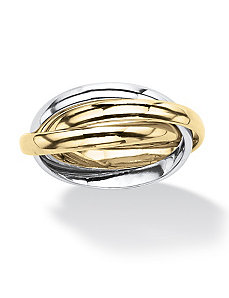 Tri-Tone Interlocking Rings by PalmBeach Jewelry