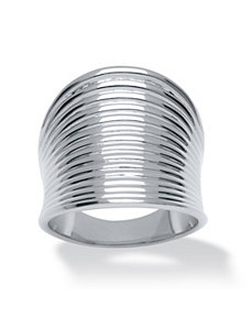 Ribbed Concave Ring by PalmBeach Jewelry