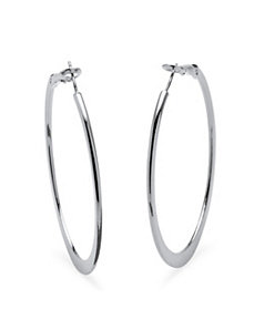 Silvertone Hoop Earrings by PalmBeach Jewelry