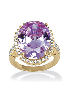 19.92 TCW Lavender Cubic Zirconia Ring by PalmBeach Jewelry