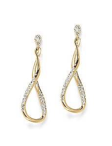 Pave Crystal Twist Earrings by PalmBeach Jewelry