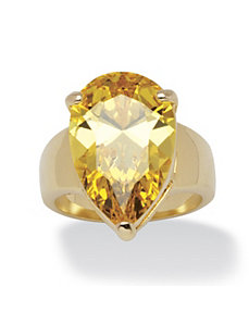 15.47 TCW Pear-Cut Yellow Cubic Zirconia Ring by PalmBeach Jewelry