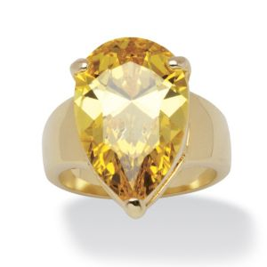 15.47 TCW Pear-Cut Yellow Cubic Zirconia Ring