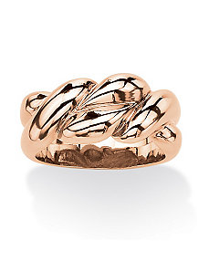 Rose Gold-Plated Braided Ring by PalmBeach Jewelry
