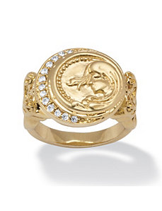 Cubic Zirconia and 18k Gold-Plated Disk Ring by PalmBeach Jewelry