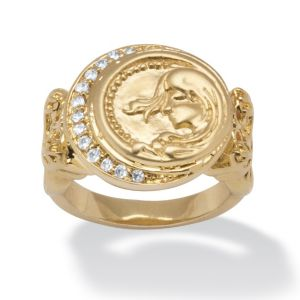Cubic Zirconia and 18k Gold-Plated Disk Ring