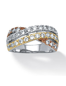Tri-Tone Cubic Zirconia Twist Ring by PalmBeach Jewelry