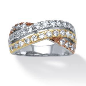 Tri-Tone Cubic Zirconia Twist Ring