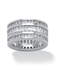 15.75 TCW Triple-Row Cubic Zirconia Band by PalmBeach Jewelry
