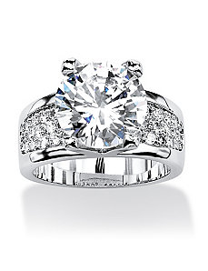 6.96 TCW Cubic Zirconia Platinum Plated Ring. by PalmBeach Jewelry