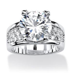 6.96 TCW Cubic Zirconia Platinum Plated Ring.