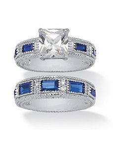Cubic Zirconia and Blue Crystal Bridal Set by PalmBeach Jewelry