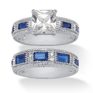 Cubic Zirconia and Blue Crystal Bridal Set