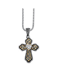 Antiqued 18k Gold-Plated Cubic Zirconia Cross by PalmBeach Jewelry