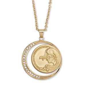Cubic Zirconia Disk Pendant Necklace