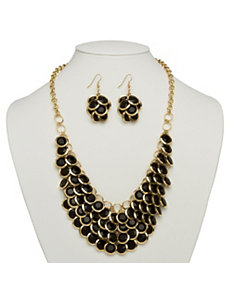 Black Bib Necklace by PalmBeach Jewelry