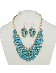 Turquoise Colored Bib Necklace by PalmBeach Jewelry