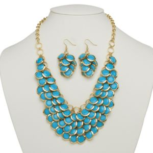 Turquoise Colored Bib Necklace