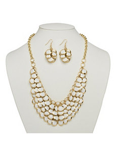 White Bib Necklace by PalmBeach Jewelry