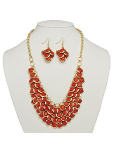 Orange Bib Necklace by PalmBeach Jewelry
