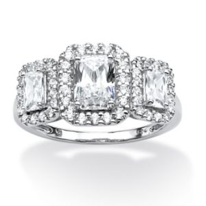 1.85 TCW Emerald-Cut Cubic Zirconia Ring