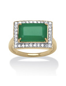 .32 TCW Jade and Cubic Zirconia Cocktail Ring by PalmBeach Jewelry