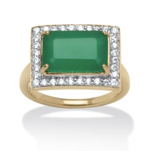 .32 TCW Jade and Cubic Zirconia Cocktail Ring