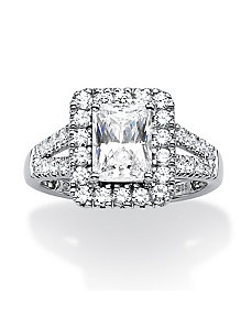 1.89 TCW Emerald-Cut Cubic Zirconia Ring by PalmBeach Jewelry