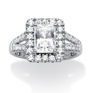 1.89 TCW Emerald-Cut Cubic Zirconia Ring