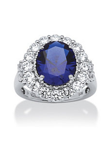 7.39 TCW Sapphire and Cubic Zirconia Ring by PalmBeach Jewelry