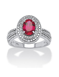 1.58 TCW Lab Created Ruby Ring by PalmBeach Jewelry