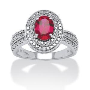 1.58 TCW Lab Created Ruby Ring