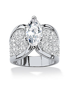 4.59 TCW Cubic Zirconia Ring Platinum Plated by PalmBeach Jewelry