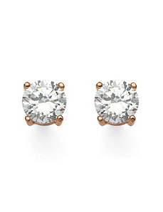 2.50 TCW Cubic Zirconia Earrings Rose Gold by PalmBeach Jewelry