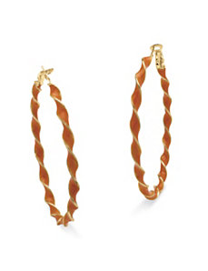 Orange Enamel Hoop Earrings by PalmBeach Jewelry