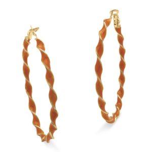 Orange Enamel Hoop Earrings