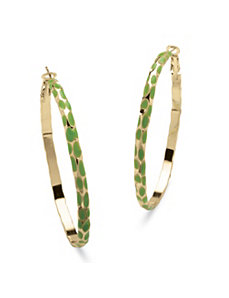 Green Enamel Hoop Earrings by PalmBeach Jewelry
