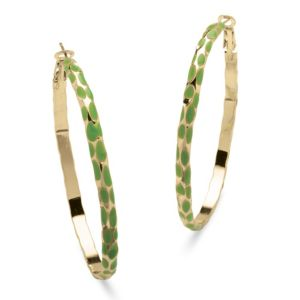 Green Enamel Hoop Earrings