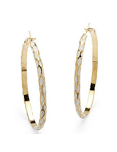 White Enamel Hoop Earrings by PalmBeach Jewelry